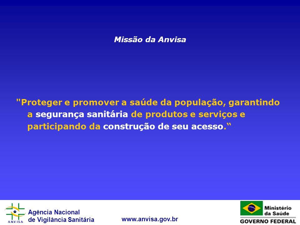 Agência Nacional de Vigilância Sanitária www.anvisa.gov.br Missão da Anvisa