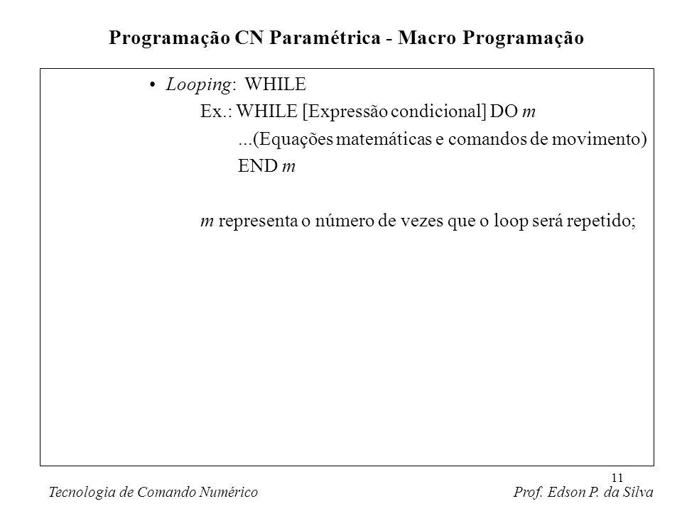 11 Looping: WHILE Ex.: WHILE [Expressão condicional] DO m...(Equações matemáticas e comandos de movimento) END m m representa o número de vezes que o