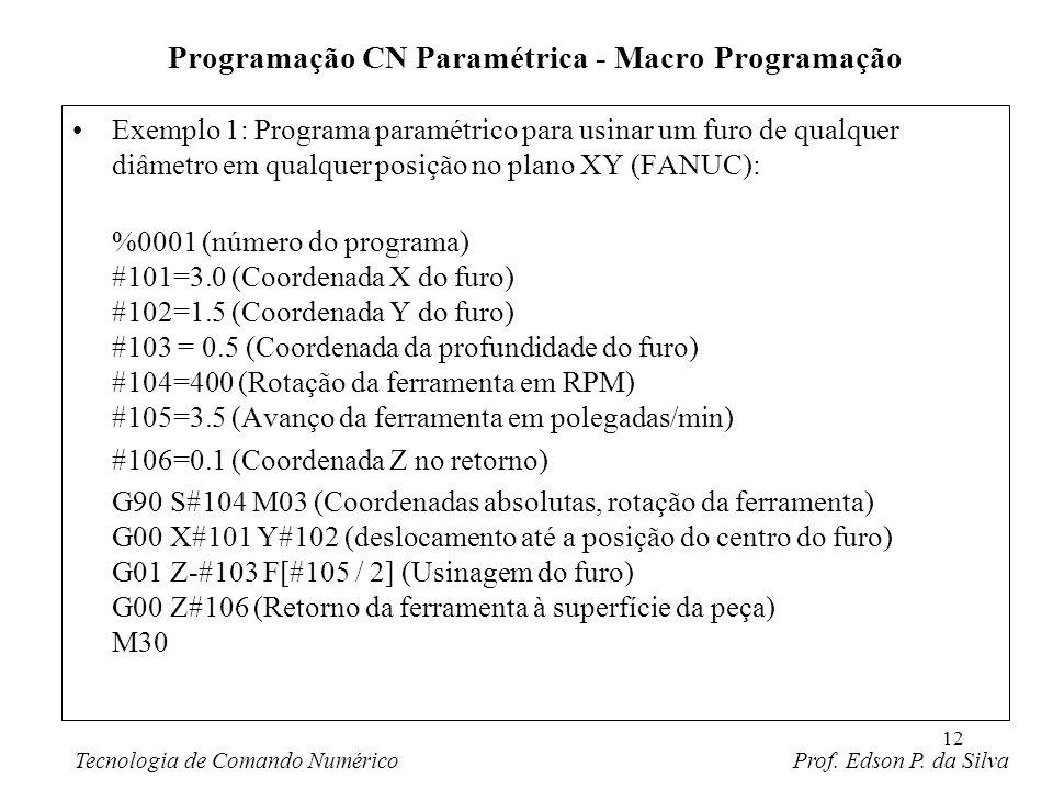 12 Exemplo 1: Programa paramétrico para usinar um furo de qualquer diâmetro em qualquer posição no plano XY (FANUC): %0001 (número do programa) #101=3