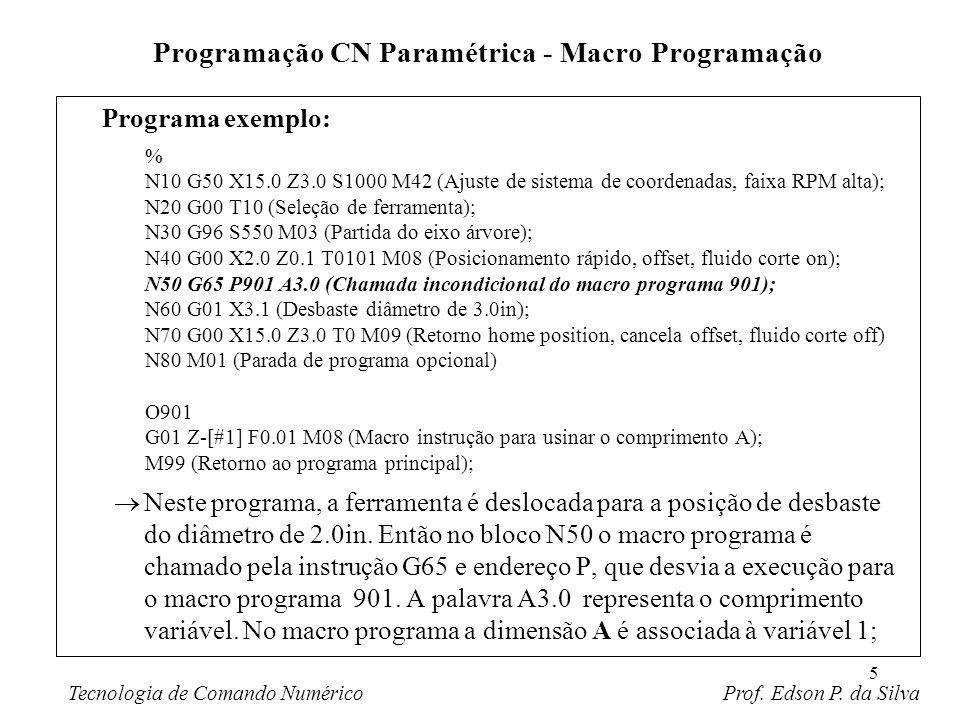 5 Programa exemplo: Neste programa, a ferramenta é deslocada para a posição de desbaste do diâmetro de 2.0in. Então no bloco N50 o macro programa é ch