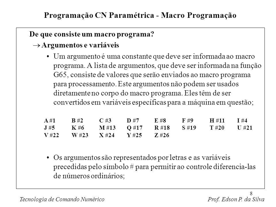 8 De que consiste um macro programa? Argumentos e variáveis Um argumento é uma constante que deve ser informada ao macro programa. A lista de argument