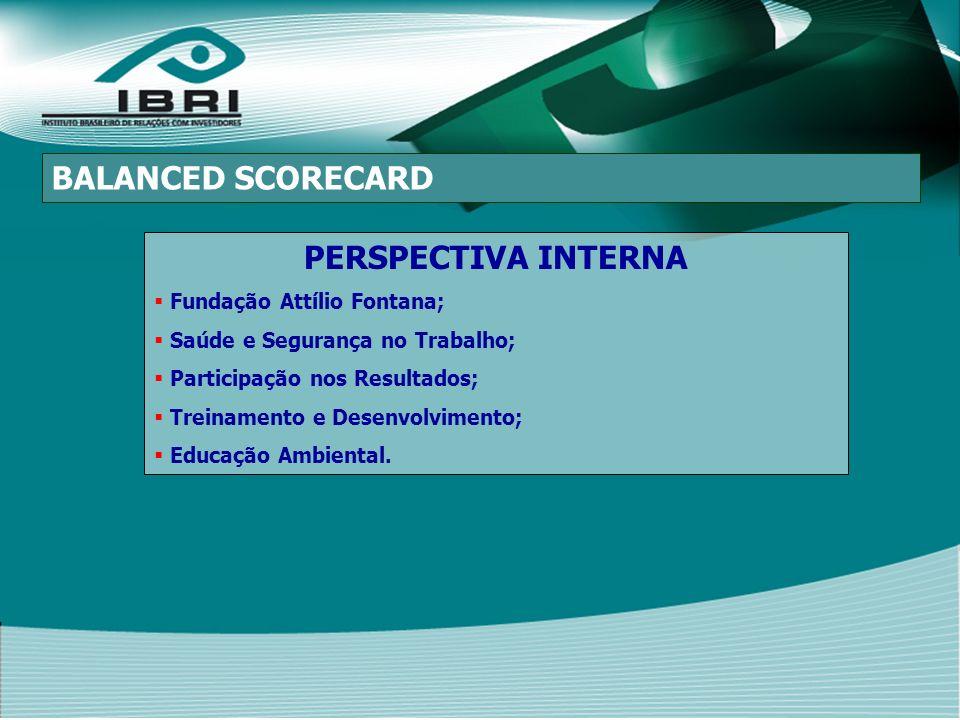 PERSPECTIVA INTERNA Fundação Attílio Fontana; Saúde e Segurança no Trabalho; Participação nos Resultados; Treinamento e Desenvolvimento; Educação Ambiental.