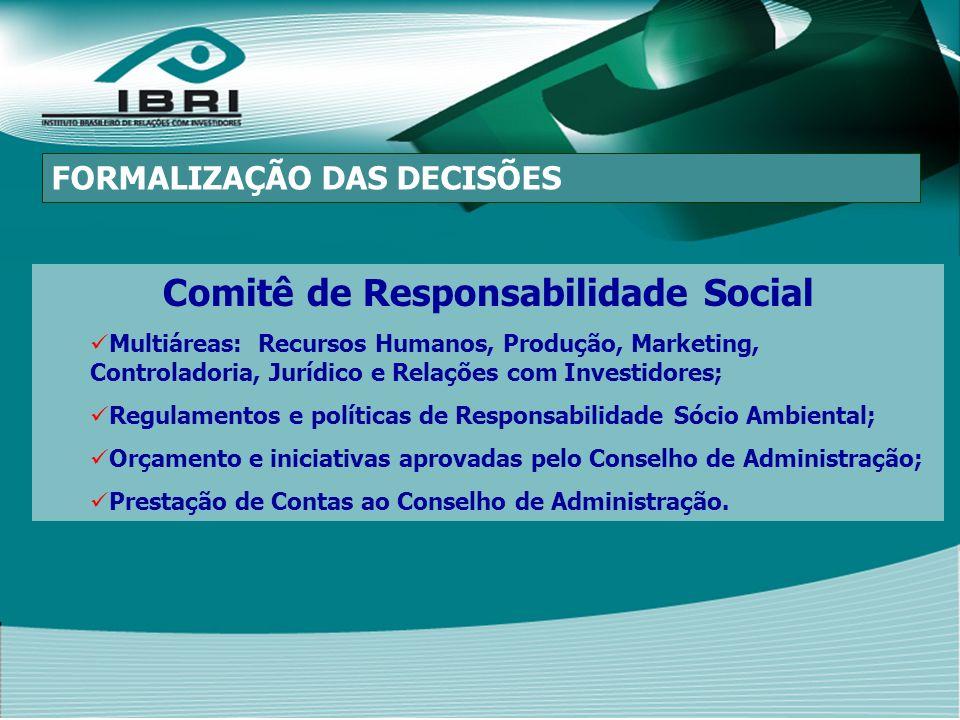 Comitê de Responsabilidade Social Multiáreas: Recursos Humanos, Produção, Marketing, Controladoria, Jurídico e Relações com Investidores; Regulamentos