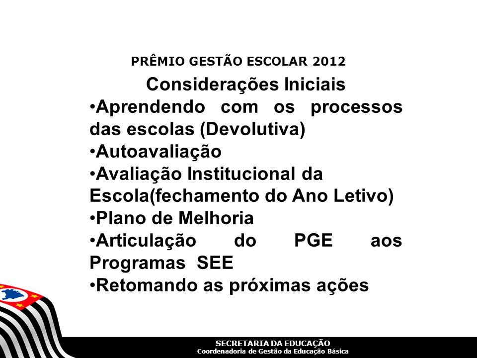 SECRETARIA DA EDUCAÇÃO Coordenadoria de Gestão da Educação Básica AUTOAVALIAÇÃO AVALIAÇÃO INSTITUCIONAL IDEB IDESP SARESP AV.