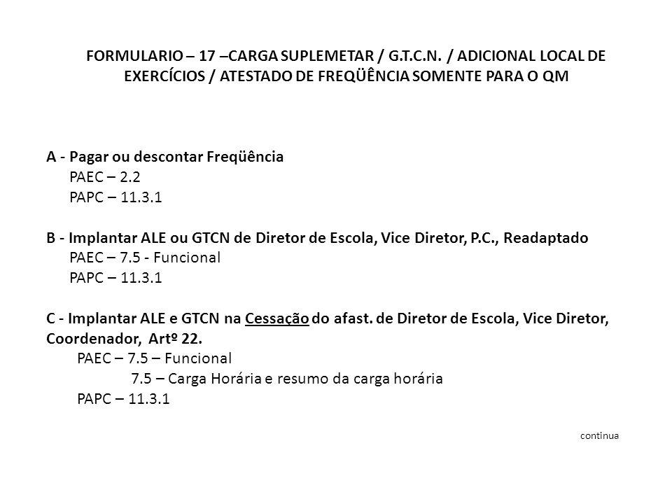 FORMULARIO – 17 –CARGA SUPLEMETAR / G.T.C.N.