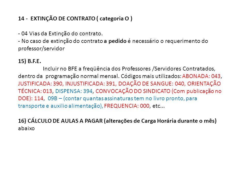 14 - EXTINÇÃO DE CONTRATO ( categoria O ) - 04 Vias da Extinção do contrato.