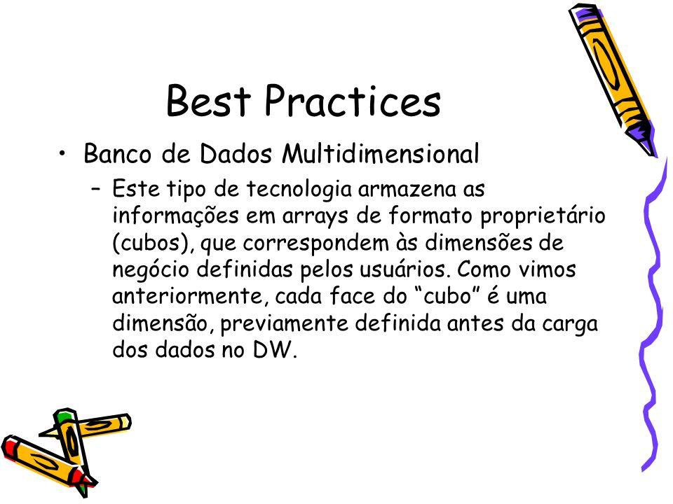 Best Practices Banco de Dados Multidimensional –Este tipo de tecnologia armazena as informações em arrays de formato proprietário (cubos), que corresp