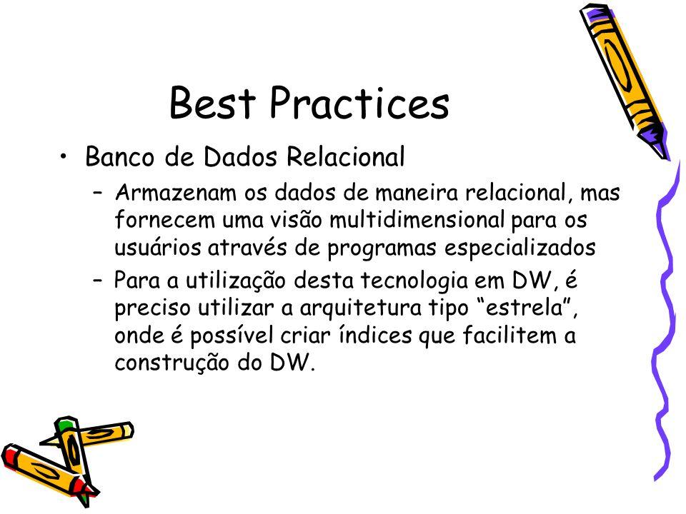 Best Practices Banco de Dados Relacional –Armazenam os dados de maneira relacional, mas fornecem uma visão multidimensional para os usuários através d