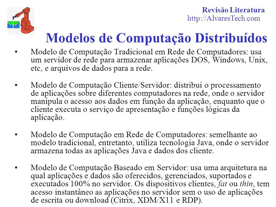 Revisão Literatura http://AlvaresTech.com Modelos de Computação Distribuídos Modelo de Computação Tradicional em Rede de Computadores: usa um servidor