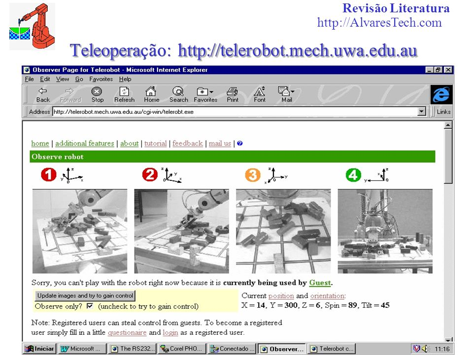 Teleoperahttp://telerobot.mech.uwa.edu.au Teleoperação: http://telerobot.mech.uwa.edu.au Revisão Literatura http://AlvaresTech.com
