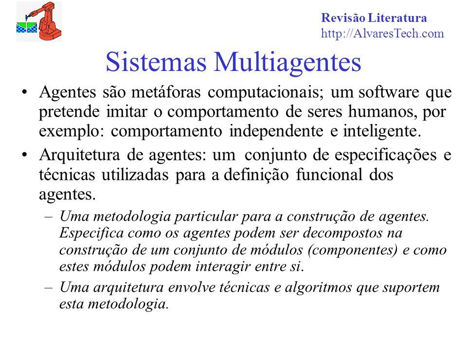 Revisão Literatura http://AlvaresTech.com Sistemas Multiagentes Agentes são metáforas computacionais; um software que pretende imitar o comportamento