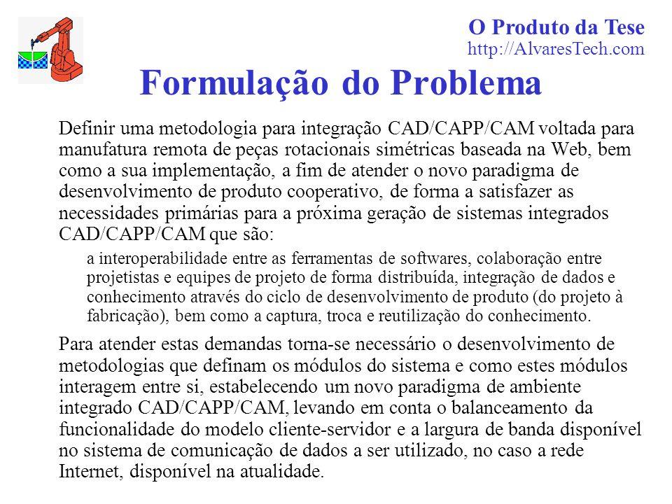 O Produto da Tese http://AlvaresTech.com Formulação do Problema Definir uma metodologia para integração CAD/CAPP/CAM voltada para manufatura remota de