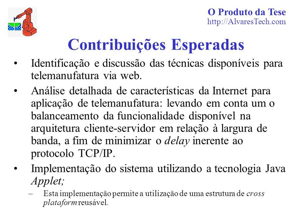 O Produto da Tese http://AlvaresTech.com Contribuições Esperadas Identificação e discussão das técnicas disponíveis para telemanufatura via web. Análi