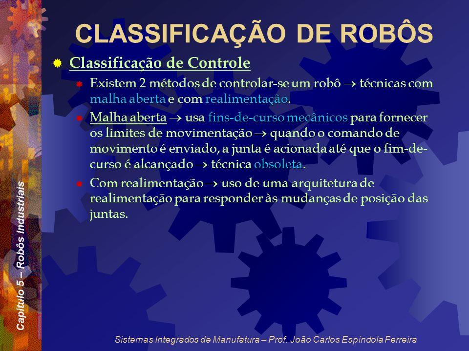 Capítulo 5 – Robôs Industriais Sistemas Integrados de Manufatura – Prof. João Carlos Espíndola Ferreira CLASSIFICAÇÃO DE ROBÔS Classificação de Contro