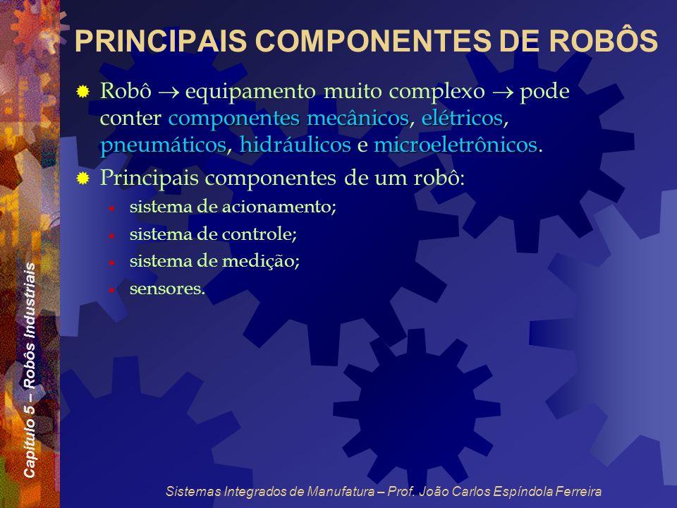 Capítulo 5 – Robôs Industriais Sistemas Integrados de Manufatura – Prof. João Carlos Espíndola Ferreira PRINCIPAIS COMPONENTES DE ROBÔS componentes me