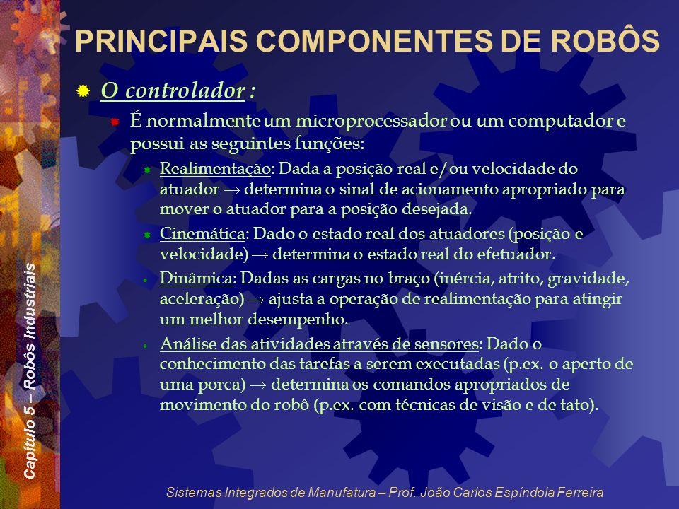 Capítulo 5 – Robôs Industriais Sistemas Integrados de Manufatura – Prof. João Carlos Espíndola Ferreira PRINCIPAIS COMPONENTES DE ROBÔS O controlador