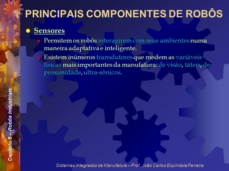 Capítulo 5 – Robôs Industriais Sistemas Integrados de Manufatura – Prof. João Carlos Espíndola Ferreira PRINCIPAIS COMPONENTES DE ROBÔS Sensores inter