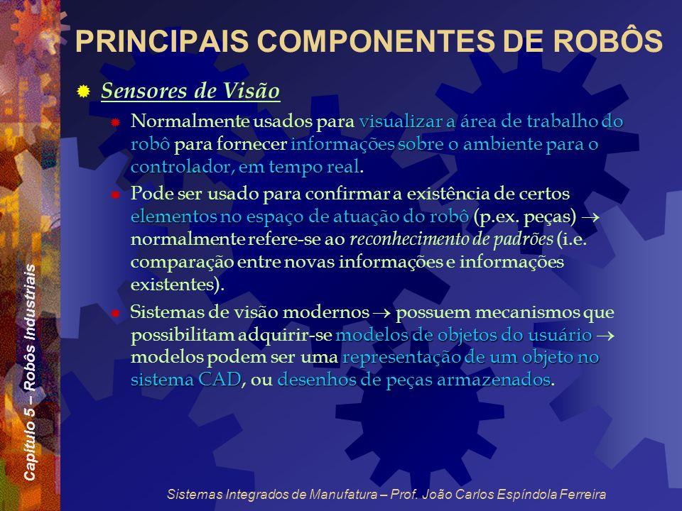 Capítulo 5 – Robôs Industriais Sistemas Integrados de Manufatura – Prof. João Carlos Espíndola Ferreira PRINCIPAIS COMPONENTES DE ROBÔS Sensores de Vi
