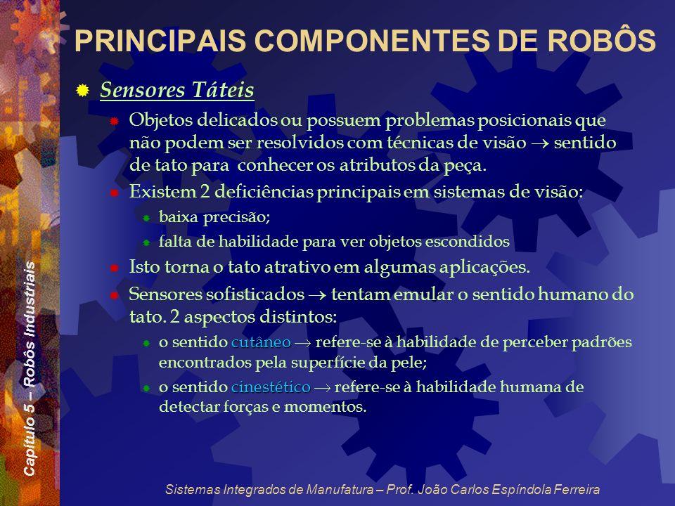 Capítulo 5 – Robôs Industriais Sistemas Integrados de Manufatura – Prof. João Carlos Espíndola Ferreira PRINCIPAIS COMPONENTES DE ROBÔS Sensores Tátei