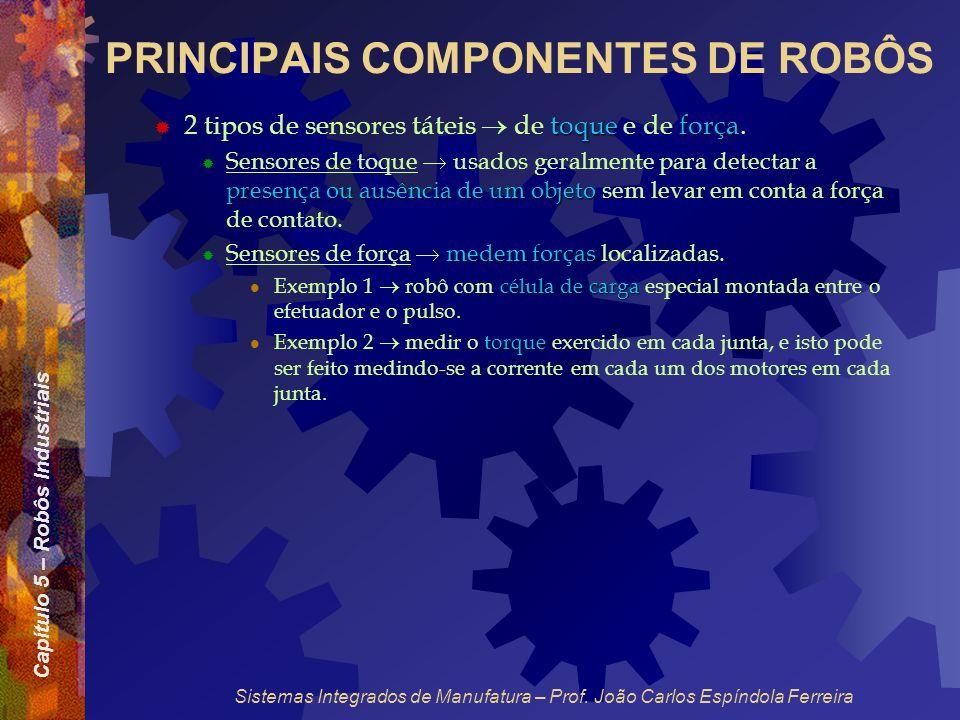 Capítulo 5 – Robôs Industriais Sistemas Integrados de Manufatura – Prof. João Carlos Espíndola Ferreira PRINCIPAIS COMPONENTES DE ROBÔS toque força 2