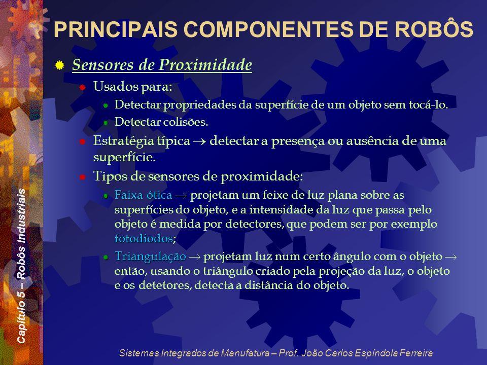 Capítulo 5 – Robôs Industriais Sistemas Integrados de Manufatura – Prof. João Carlos Espíndola Ferreira PRINCIPAIS COMPONENTES DE ROBÔS Sensores de Pr