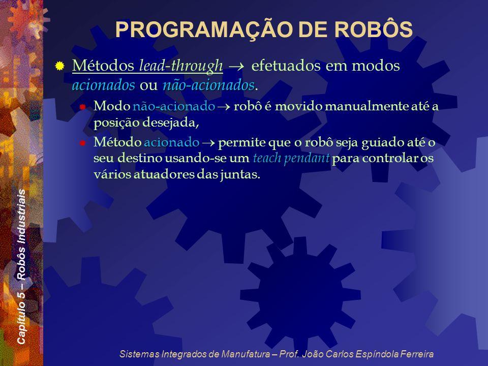 Capítulo 5 – Robôs Industriais Sistemas Integrados de Manufatura – Prof. João Carlos Espíndola Ferreira PROGRAMAÇÃO DE ROBÔS acionadosnão-acionados Mé
