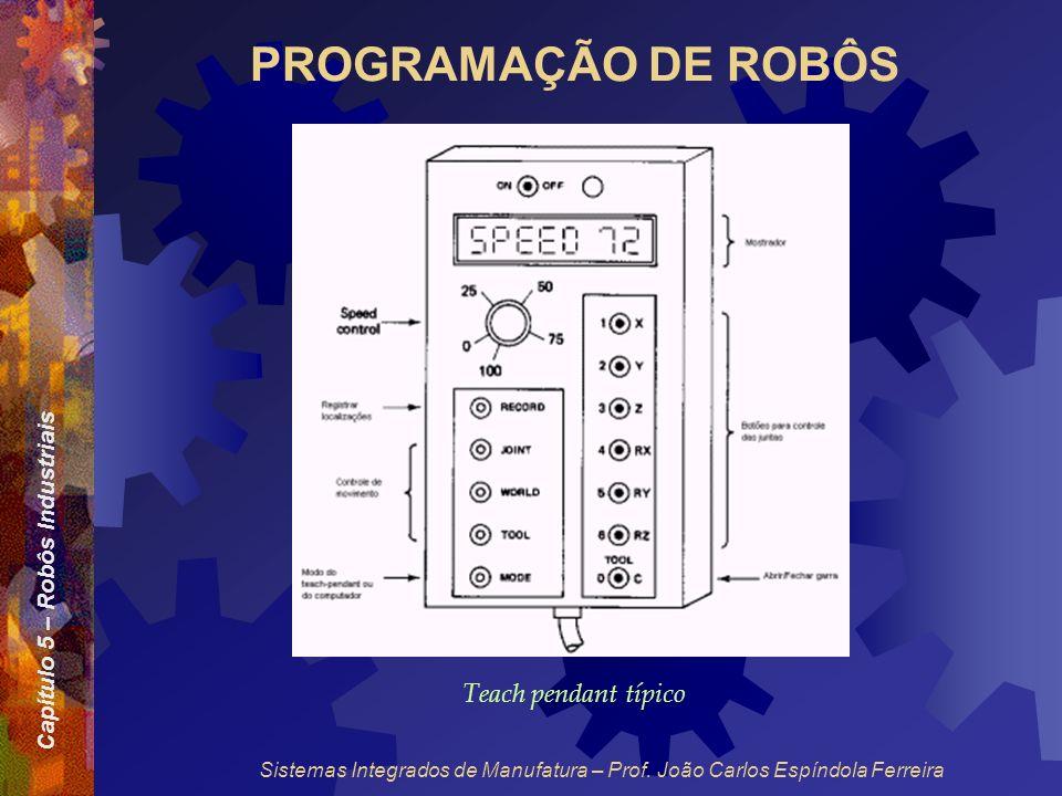 Capítulo 5 – Robôs Industriais Sistemas Integrados de Manufatura – Prof. João Carlos Espíndola Ferreira PROGRAMAÇÃO DE ROBÔS Teach pendant típico