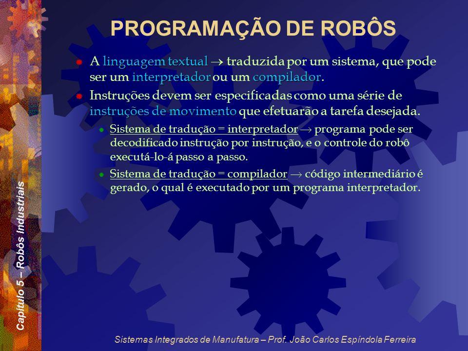Capítulo 5 – Robôs Industriais Sistemas Integrados de Manufatura – Prof. João Carlos Espíndola Ferreira PROGRAMAÇÃO DE ROBÔS linguagem textual interpr