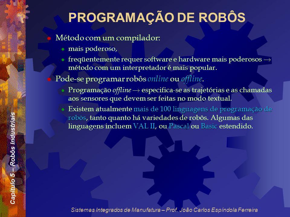 Capítulo 5 – Robôs Industriais Sistemas Integrados de Manufatura – Prof. João Carlos Espíndola Ferreira PROGRAMAÇÃO DE ROBÔS Método com um compilador: