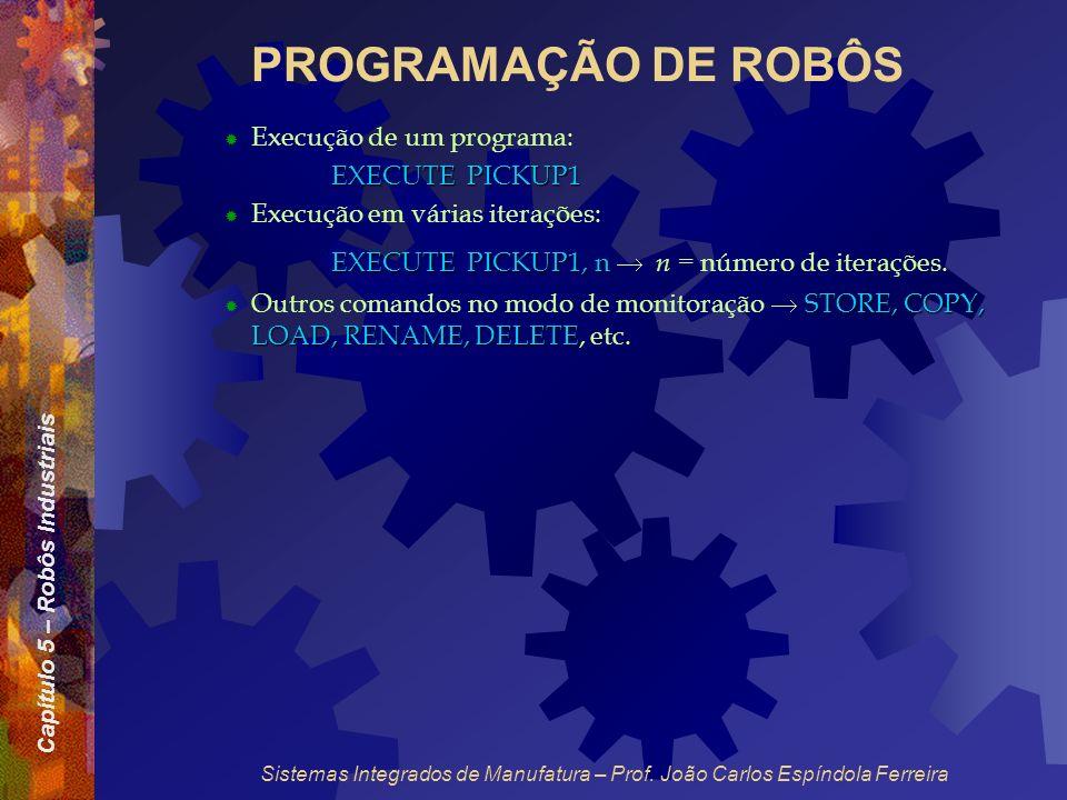Capítulo 5 – Robôs Industriais Sistemas Integrados de Manufatura – Prof. João Carlos Espíndola Ferreira PROGRAMAÇÃO DE ROBÔS Execução de um programa: