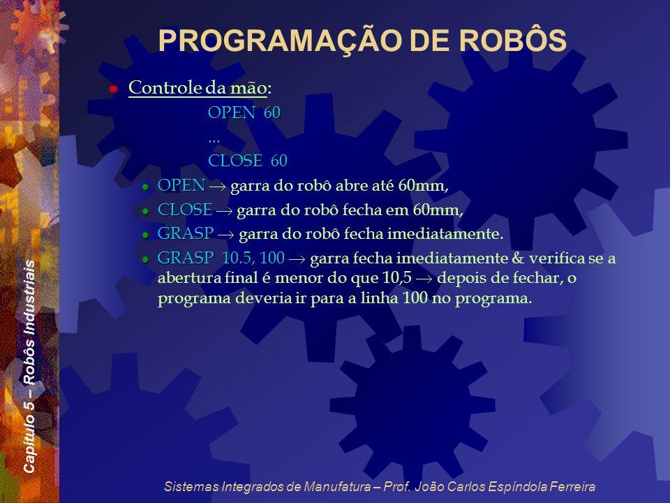 Capítulo 5 – Robôs Industriais Sistemas Integrados de Manufatura – Prof. João Carlos Espíndola Ferreira PROGRAMAÇÃO DE ROBÔS Controle da mão: OPEN 60.