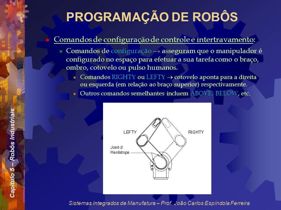Capítulo 5 – Robôs Industriais Sistemas Integrados de Manufatura – Prof. João Carlos Espíndola Ferreira PROGRAMAÇÃO DE ROBÔS Comandos de configuração