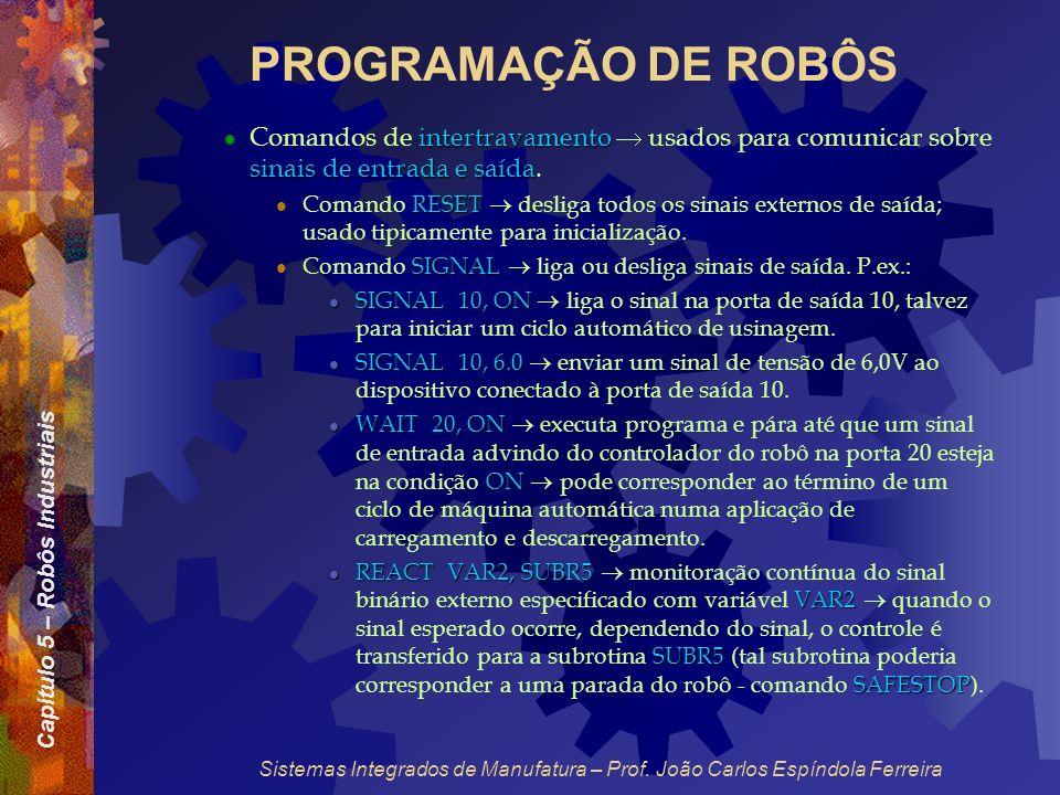 Capítulo 5 – Robôs Industriais Sistemas Integrados de Manufatura – Prof. João Carlos Espíndola Ferreira PROGRAMAÇÃO DE ROBÔS intertravamento sinais de