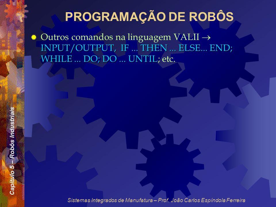 Capítulo 5 – Robôs Industriais Sistemas Integrados de Manufatura – Prof. João Carlos Espíndola Ferreira PROGRAMAÇÃO DE ROBÔS INPUT/OUTPUT, IF... THEN.