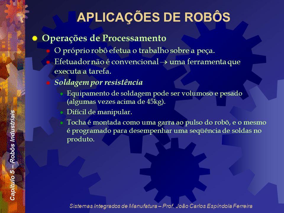 Capítulo 5 – Robôs Industriais Sistemas Integrados de Manufatura – Prof. João Carlos Espíndola Ferreira APLICAÇÕES DE ROBÔS Operações de Processamento