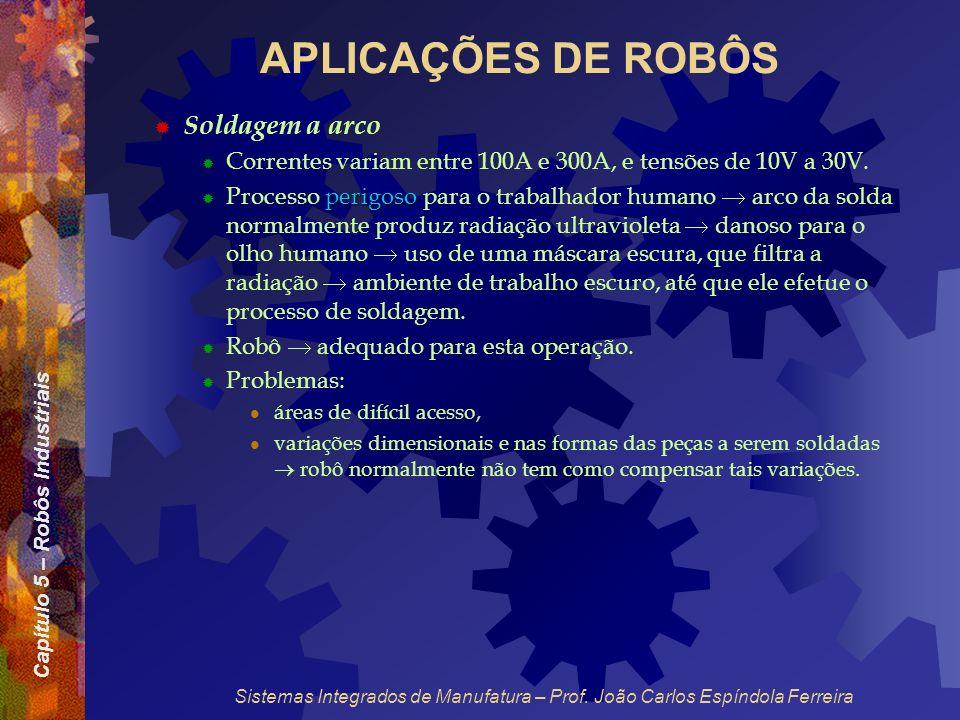 Capítulo 5 – Robôs Industriais Sistemas Integrados de Manufatura – Prof. João Carlos Espíndola Ferreira APLICAÇÕES DE ROBÔS Soldagem a arco Correntes