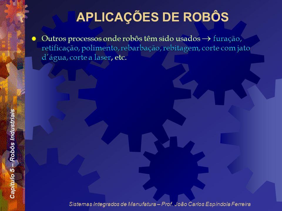 Capítulo 5 – Robôs Industriais Sistemas Integrados de Manufatura – Prof. João Carlos Espíndola Ferreira APLICAÇÕES DE ROBÔS furação, retificação, poli