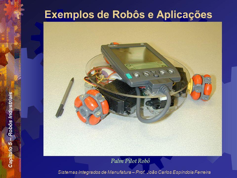 Capítulo 5 – Robôs Industriais Sistemas Integrados de Manufatura – Prof. João Carlos Espíndola Ferreira Exemplos de Robôs e Aplicações Palm Pilot Robô