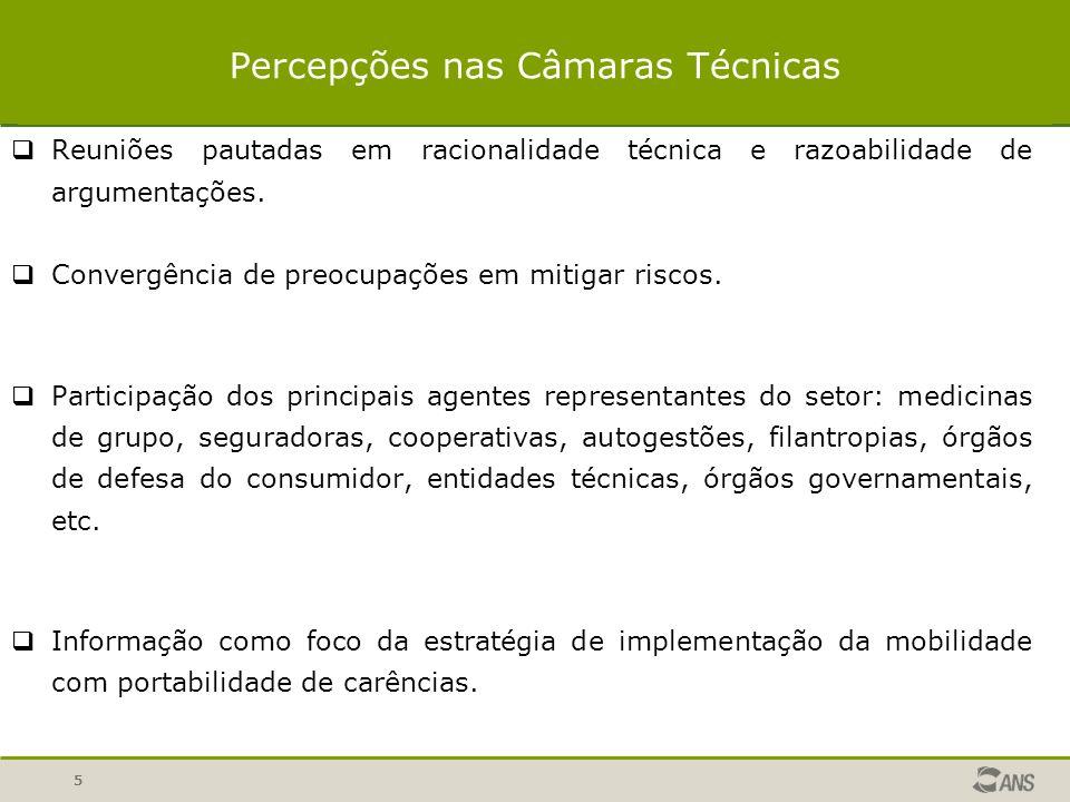 5 Percepções nas Câmaras Técnicas Reuniões pautadas em racionalidade técnica e razoabilidade de argumentações.