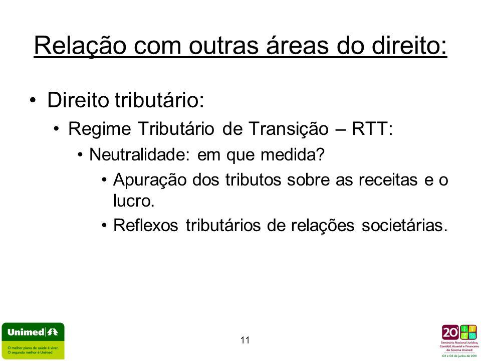 11 Relação com outras áreas do direito: Direito tributário: Regime Tributário de Transição – RTT: Neutralidade: em que medida? Apuração dos tributos s