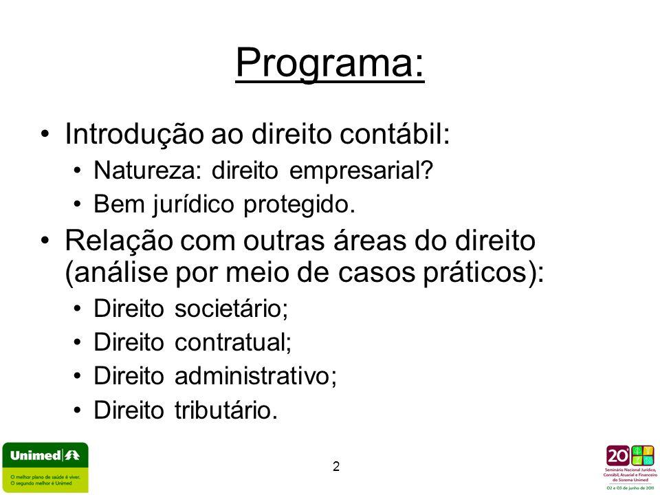 2 Programa: Introdução ao direito contábil: Natureza: direito empresarial? Bem jurídico protegido. Relação com outras áreas do direito (análise por me