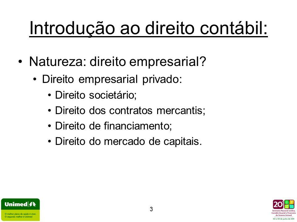 3 Introdução ao direito contábil: Natureza: direito empresarial? Direito empresarial privado: Direito societário; Direito dos contratos mercantis; Dir