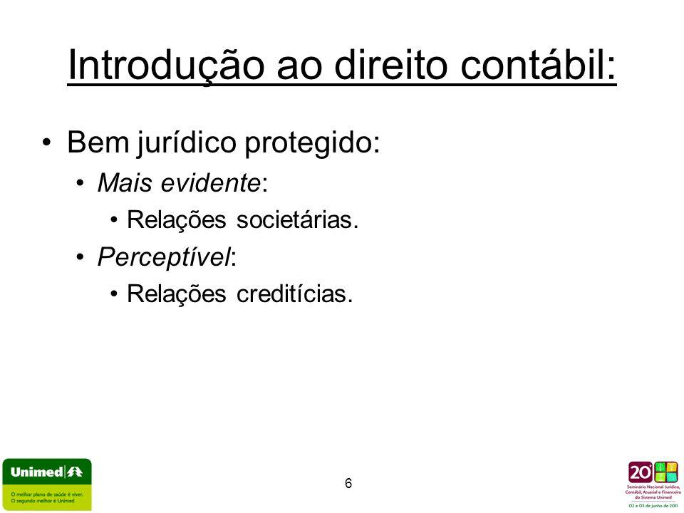 6 Introdução ao direito contábil: Bem jurídico protegido: Mais evidente: Relações societárias. Perceptível: Relações creditícias.