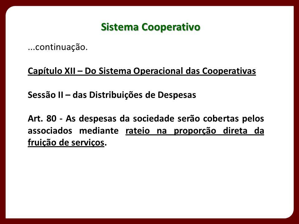 ...continuação. Capítulo XII – Do Sistema Operacional das Cooperativas Sessão II – das Distribuições de Despesas rateio na proporção direta da fruição