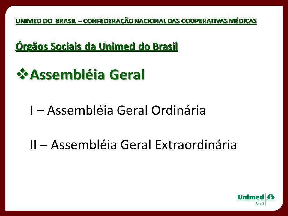 UNIMED DO BRASIL – CONFEDERAÇÃO NACIONAL DAS COOPERATIVAS MÉDICAS Assembléia Geral Assembléia Geral I – Assembléia Geral Ordinária II – Assembléia Ger