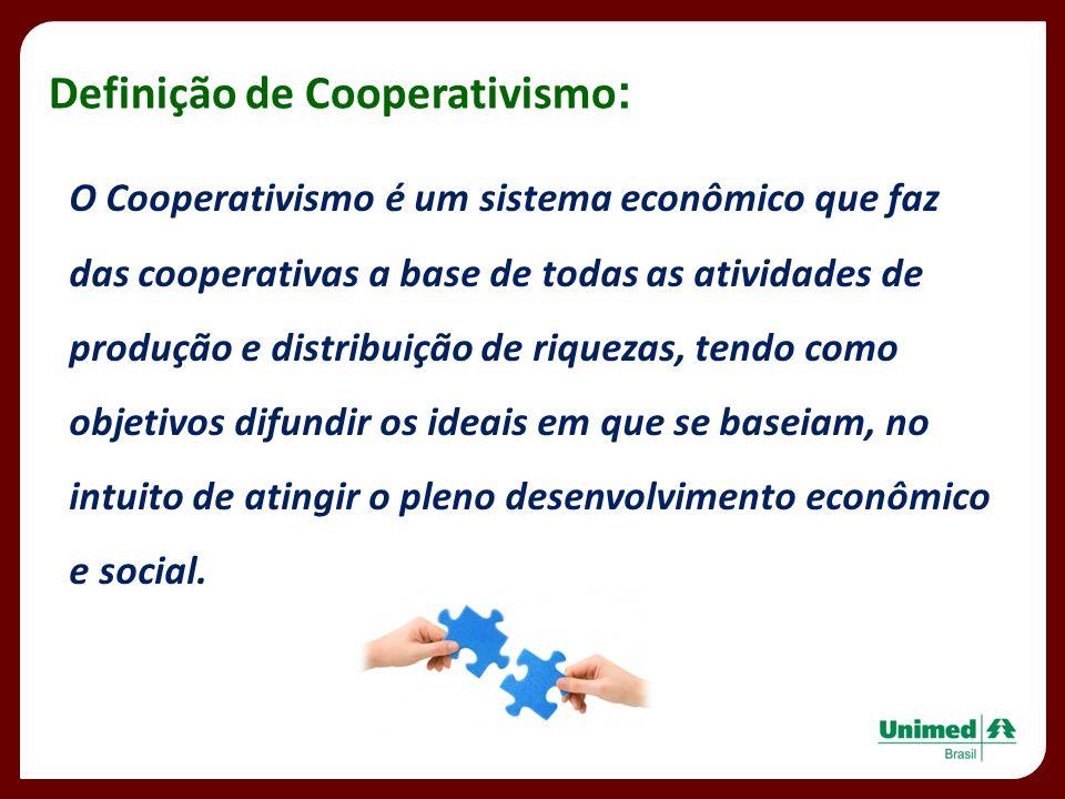 O Cooperativismo é um sistema econômico que faz das cooperativas a base de todas as atividades de produção e distribuição de riquezas, tendo como obje