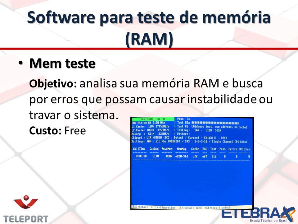 Apresentação do problemas na memória (RAM) Cada código, você pode verificar na documentação do do memtest.