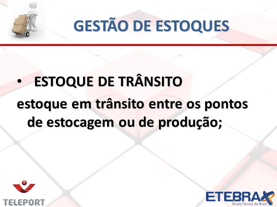 GESTÃO DE ESTOQUES ESTOQUE DE TRÂNSITO ESTOQUE DE TRÂNSITO estoque em trânsito entre os pontos de estocagem ou de produção;