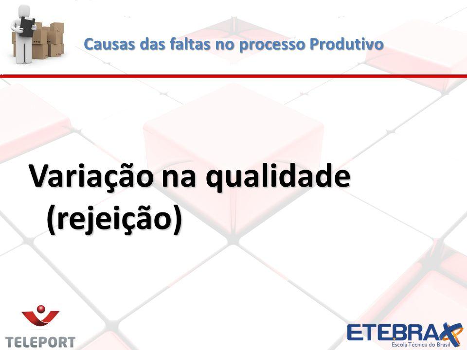 Causas das faltas no processo Produtivo Variação na qualidade (rejeição)