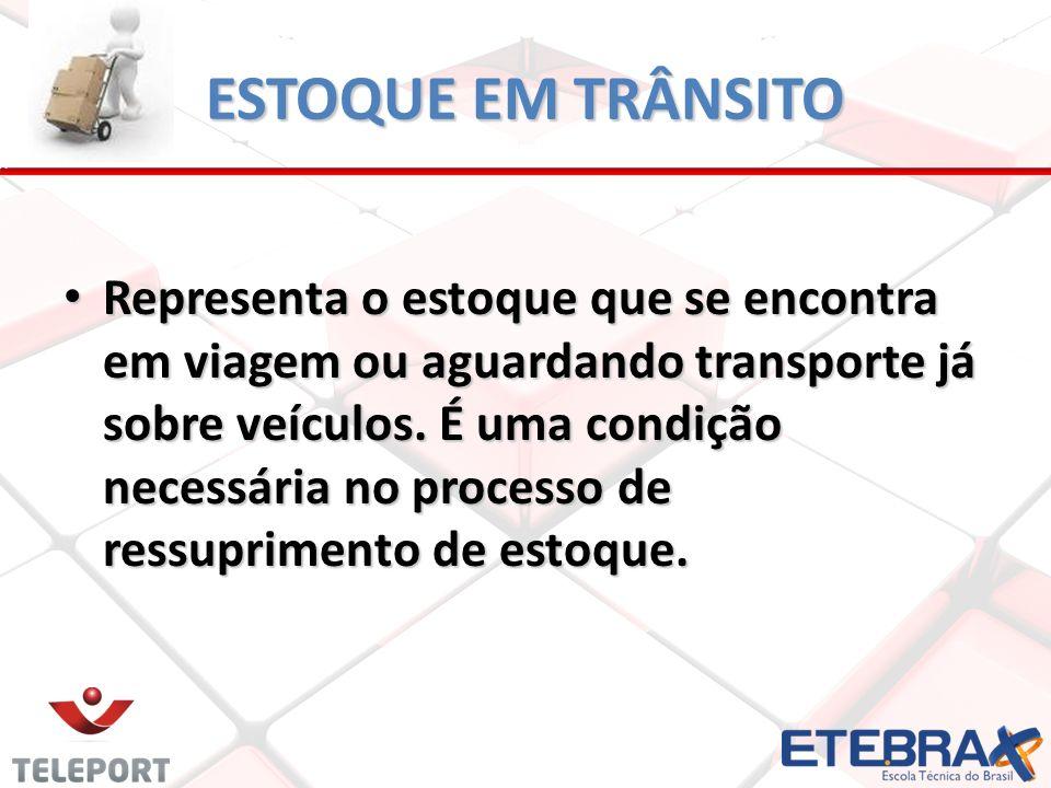 ESTOQUE EM TRÂNSITO Representa o estoque que se encontra em viagem ou aguardando transporte já sobre veículos. É uma condição necessária no processo d